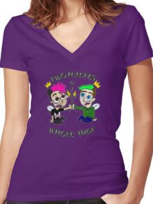 Two Halves of a Whole Idiot Women's Fitted V-Neck T-Shirt