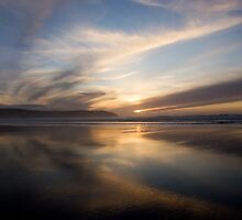 Sunset Trio 1   Woolacombe Bay by Lorraine Parramore