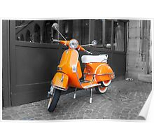 Orange Scooter Poster
