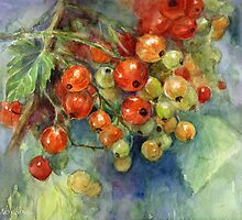 Watercolor Currants Berries painting Svetlana Novikova by Svetlana  Novikova