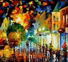 Night Attraction - original oil painting on canvas by Leonid Afremov by Leonid  Afremov