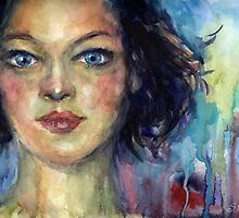Watercolor Woman portrait Svetlana Novikova by Svetlana  Novikova