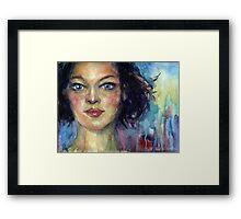 Watercolor Woman portrait Svetlana Novikova Framed Print