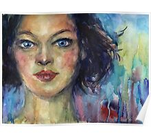Watercolor Woman portrait Svetlana Novikova Poster