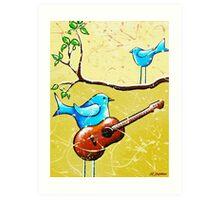Blue Bird Painting Original Whimsical Folk Wall Art - Romeo and Juliet Art Print