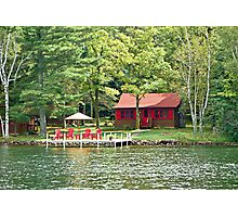 Red Chairs and a Cabin  Photographic Print