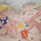 Girls playing in the sand by Jennifer Ingram