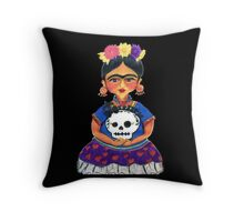 Cute Frida with Skull Color Pencil Illustration by Candace Byington Throw Pillow