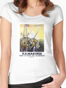 US Marines -- First To Fight For Democracy Women's Fitted Scoop T-Shirt