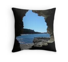 Rock framed Beach - Durras Throw Pillow