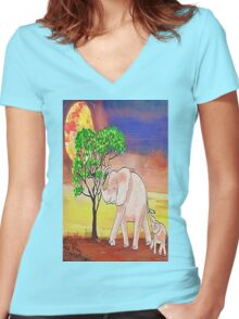 Out for a walk Women's Fitted V-Neck T-Shirt