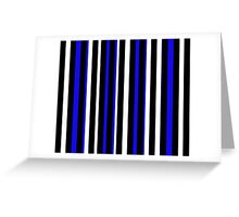 Blue Black White Stripe Bed Cover Greeting Card