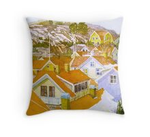 Rooftop landscape Lysekil Throw Pillow