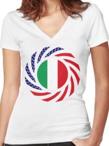Italian American Multinational Patriot Flag Series Women's Fitted V-Neck T-Shirt