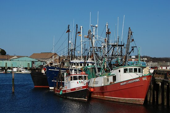 Trawlers in Gloucester Massachusetts by Steve Borichevsky