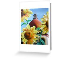 """""""Righteous Light"""" - sunflowers with a church behind Greeting Card"""