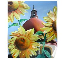 """Righteous Light"" - sunflowers with a church behind Poster"