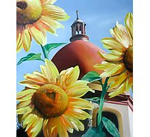 """Righteous Light"" - sunflowers with a church behind Photographic Print"