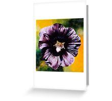 """Purple Hollyhock""- large almost black hollyhock  Greeting Card"