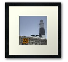 Alderney Lighthouse in the Fog. The Fog Horn is to be Finally Silenced Framed Print