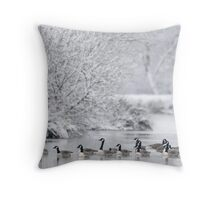 Frozen Lake with Canada Geese, Wales Throw Pillow