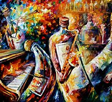 Bottle Jazz I - original oil painting on canvas by Leonid Afremov by Leonid  Afremov