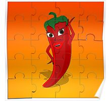 Red Pepper Diva Jigsaw Puzzle Poster