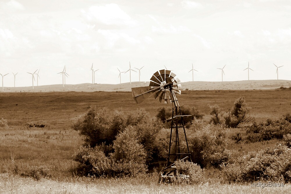 Windmill to Wind Farm - The Old Becomes New by IndigoBleue