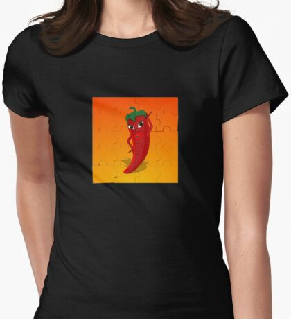Red Pepper Diva Jigsaw Puzzle Womens Fitted T-Shirt