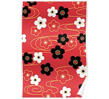 Japanese Red Sakura Cherry Blossom Flowers Poster