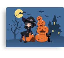 Halloween Witch, Black Cat, and Pumpkins Canvas Print