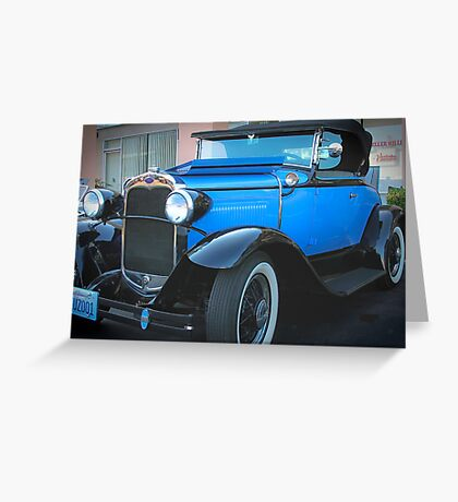 Blue Classic-1930 Model A Ford Convertible Greeting Card