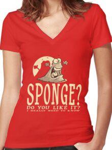 Do you like Sponge? Women's Fitted V-Neck T-Shirt