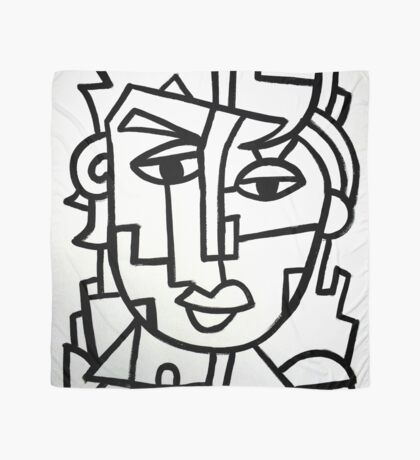 Art Lover Painting Black and White Graphic Art Scarf