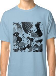 Black And White Abstract Geometric Doodle Art Classic T-Shirt