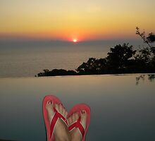 Lake Malawi: sunset and my feet by Anita Deppe