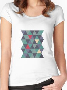 Blue grey triangles Women's Fitted Scoop T-Shirt