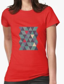 Blue grey triangles Womens Fitted T-Shirt