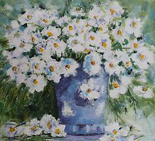 Soft White Flowers by Angela Gannicott