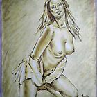 ORIGINAL OIL PAINTING SKETCH ART-NUDE GIRL  by hongtao-art