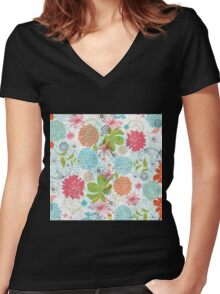 Cute Colorful Retro Flowers Collage Women's Fitted V-Neck T-Shirt