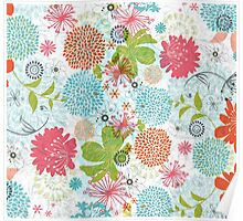 Cute Colorful Retro Flowers Collage Poster
