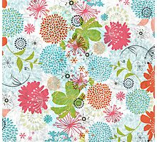 Cute Colorful Retro Flowers Collage Photographic Print