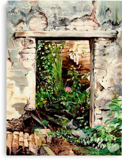 """La Casa En Ruinas"" Oil painting of an old Mexican door by James  Knowles"