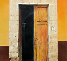 """Numero Siete"" - oil painting of an old Mexican door by James  Knowles"