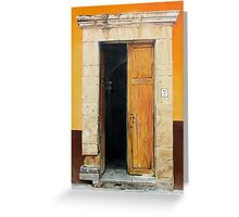 """""""Numero Siete"""" - oil painting of an old Mexican door Greeting Card"""