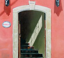 """""""Posada Positos"""" - oil painting of an old Mexican door by James  Knowles"""