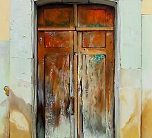 """""""Puerta Cafe"""" - oil painting of an old Mexican door by James  Knowles"""