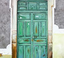 """""""Puerta Verde"""" - oil painting of an old Mexican door  by James  Knowles"""
