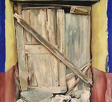"""La Puerta Cerrada"" - oil painting of an old Mexican door  by James  Knowles"